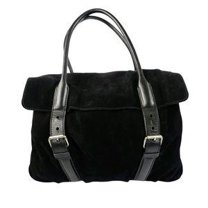 Helmut Lang Black Suede Weekend Handbag